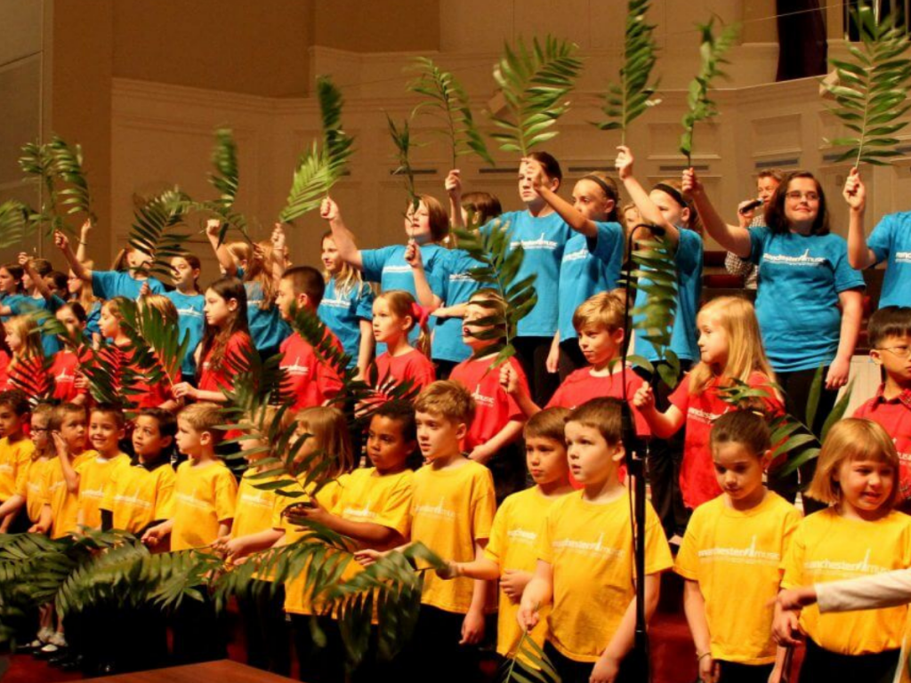 Childrens choir 43 waving palm branches