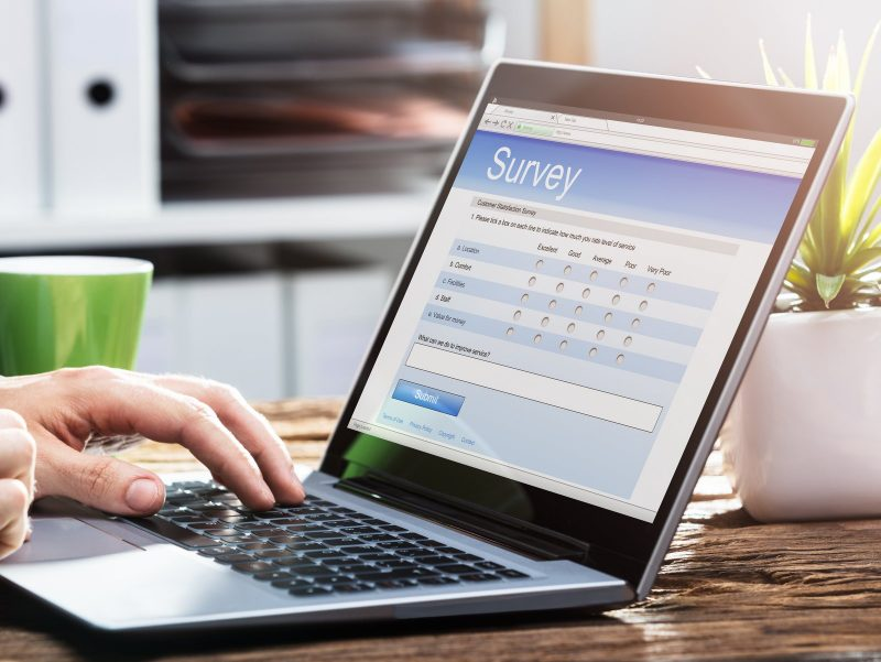online survey via personal computer