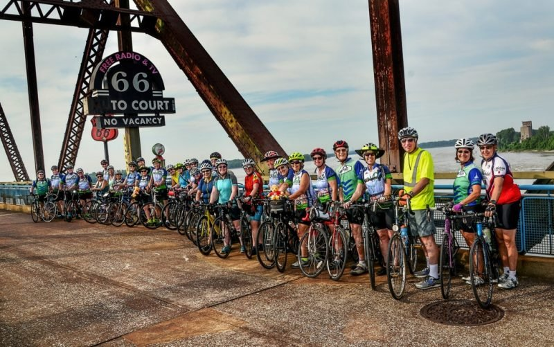 The 2018 MO-Hab Riders pause for a kick-off photo on the Chain of Rocks Bridge.