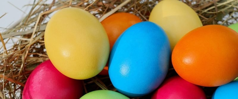 Photo of colorful basket of Easter eggs.