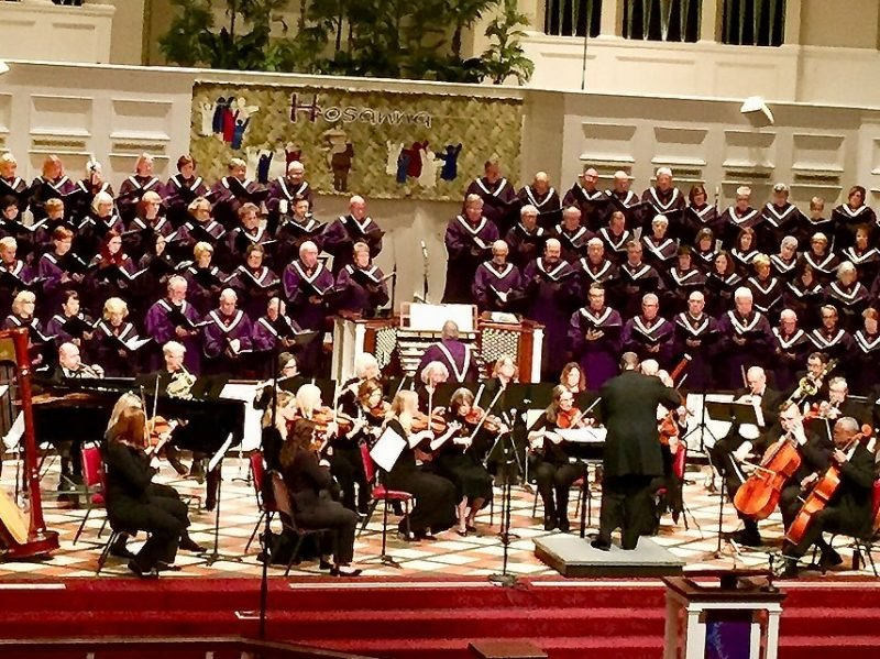 Photo of Masterworks Concert with chancel choir and orchestra.