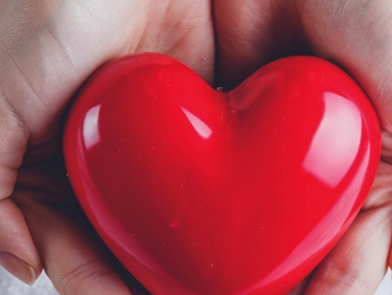 Photo of a red heart in someone's hand.