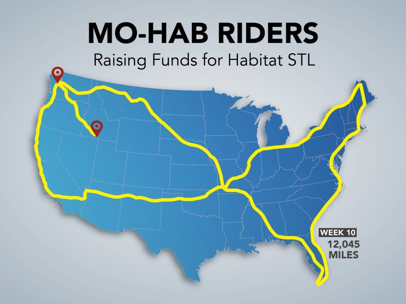"A virtual map of the total Mileage of the Mohab Riders. Title reads ""MoHab Riders: Raising Funds for Habitat STL. Across a blue map of the USA, a yellow line criss-crosses across the map and up and down several coasts. Text says ""Week 10: 12,045 miles."""
