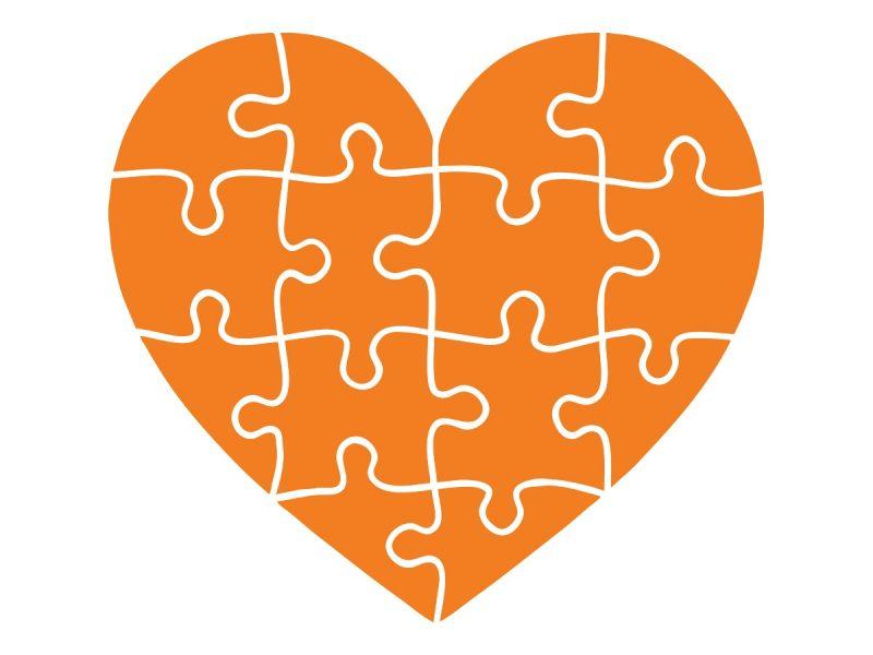 Heart artwork in orange.