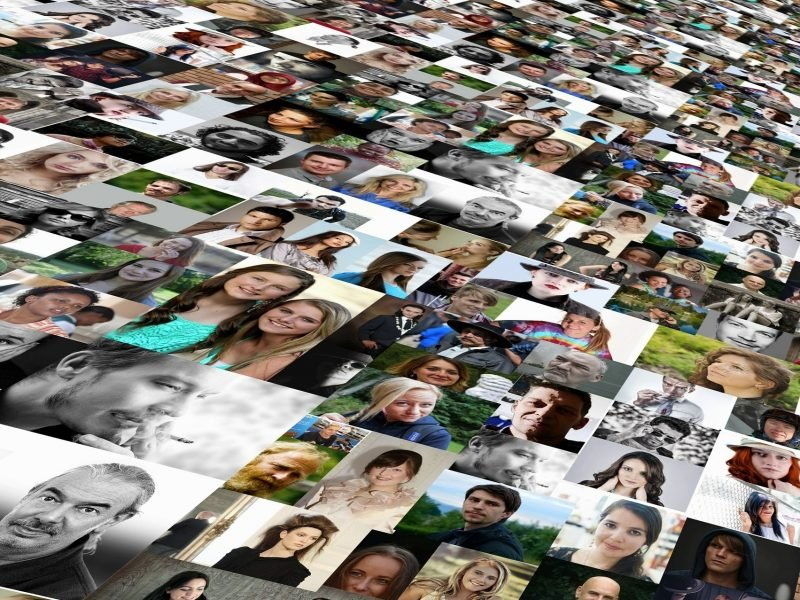 Image of many faces in photos organizaed into a streaming collage.