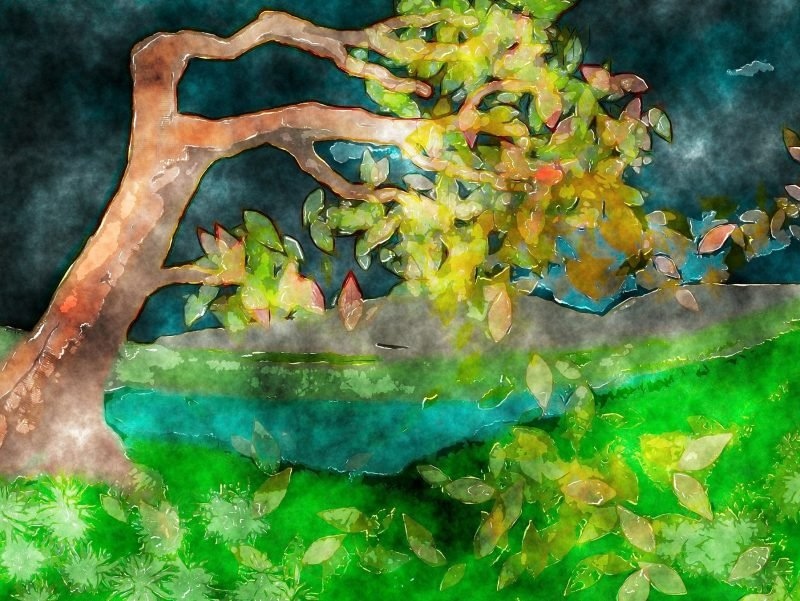 Watercolor painting of a tree, blown by the wind, but still standing strong by a river.
