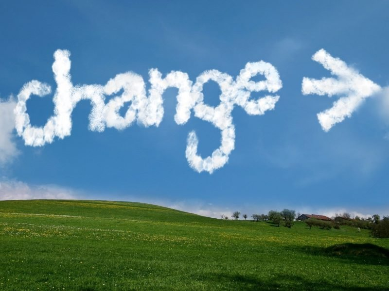 Image of blue shy with 'change' written in the clouds.