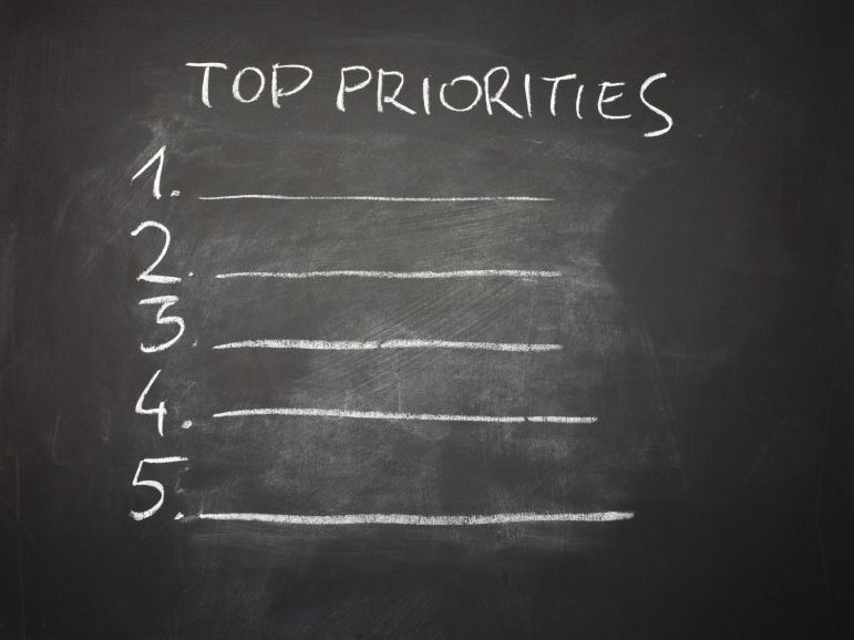 Photo of chalkboard with 'Priorities' written on it with lines from 1-5.