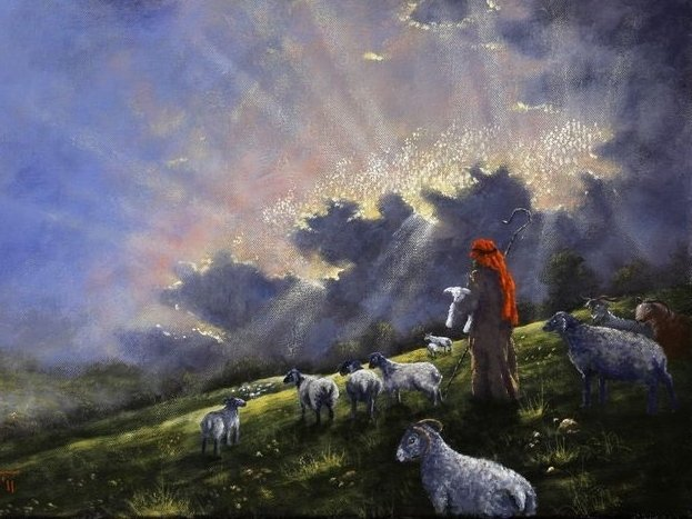 Art depicting a shepherd with sheep at night.