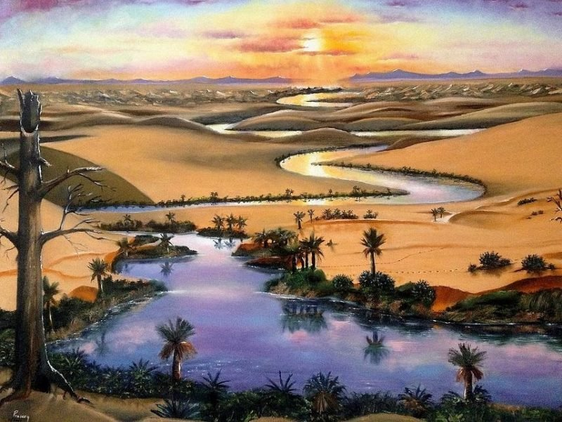 Desert River painting by Peter Praisey