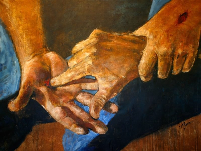 Painting of the wounded hands of Christ.