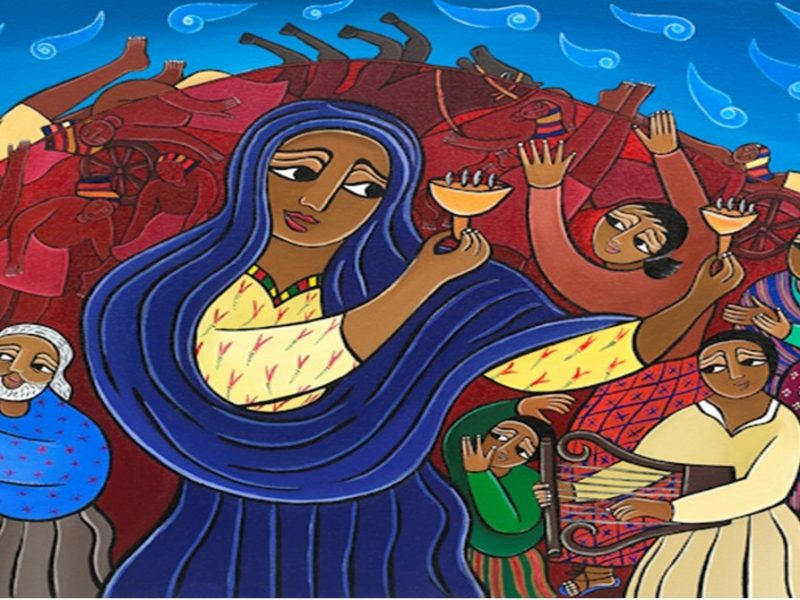 Art depicting the celebration of the Israelites.