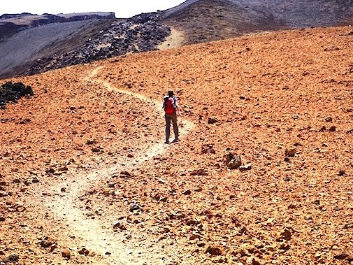Photo of a winding road with a single person walking.