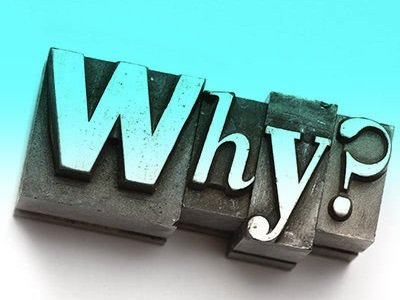 Illustration of the word 'Why' in printer block type.